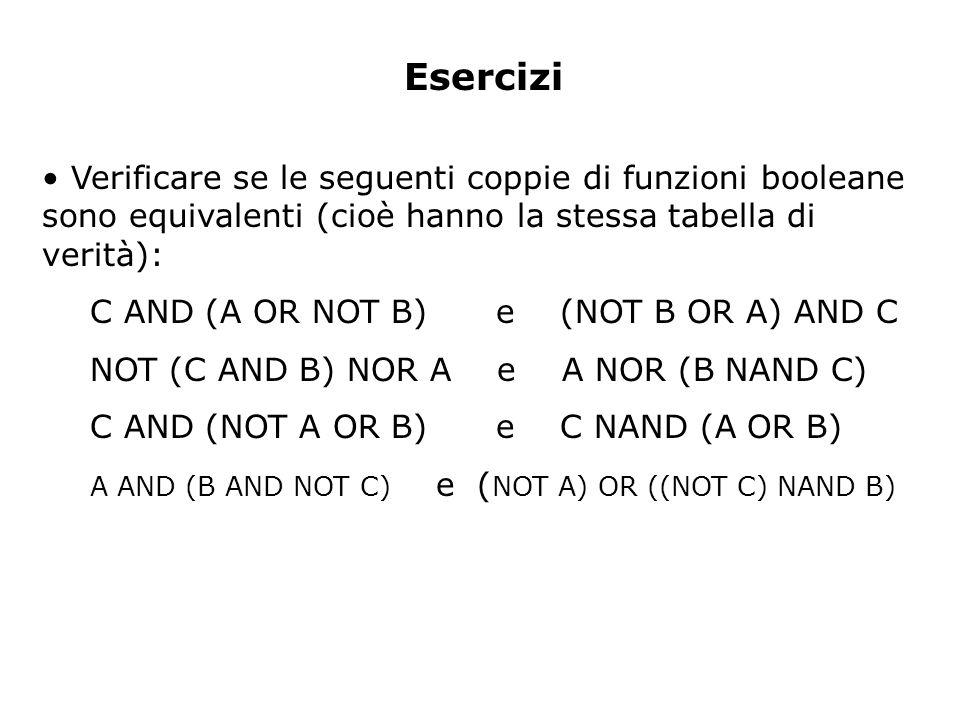 Esercizi Verificare se le seguenti coppie di funzioni booleane sono equivalenti (cioè hanno la stessa tabella di verità):