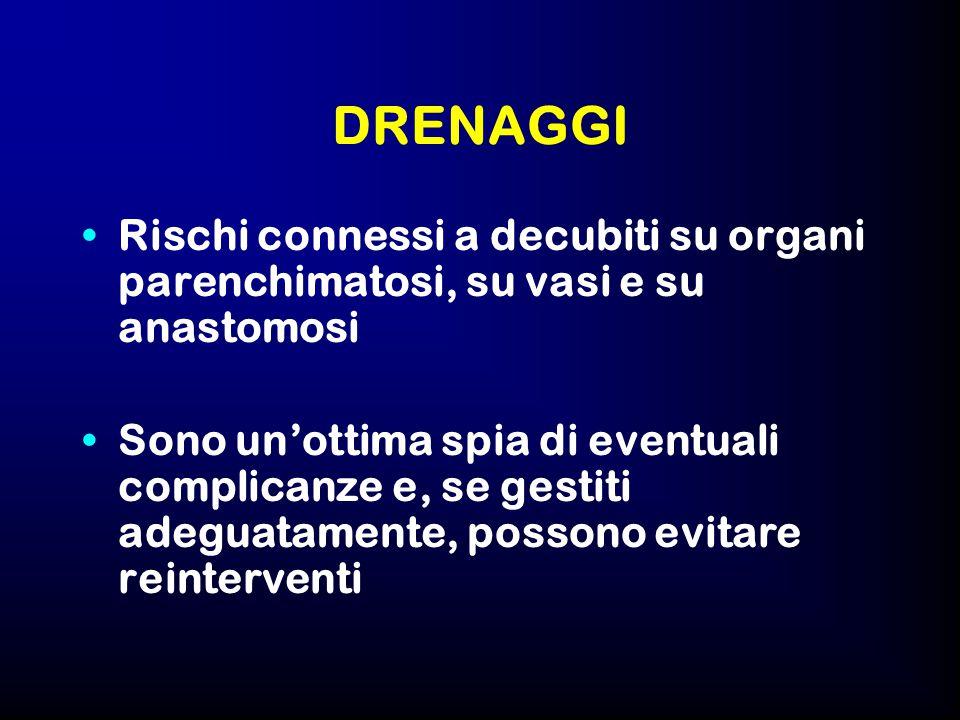 DRENAGGI Rischi connessi a decubiti su organi parenchimatosi, su vasi e su anastomosi.