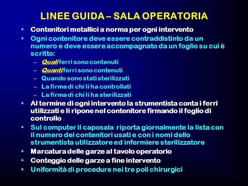 LINEE GUIDA – SALA OPERATORIA