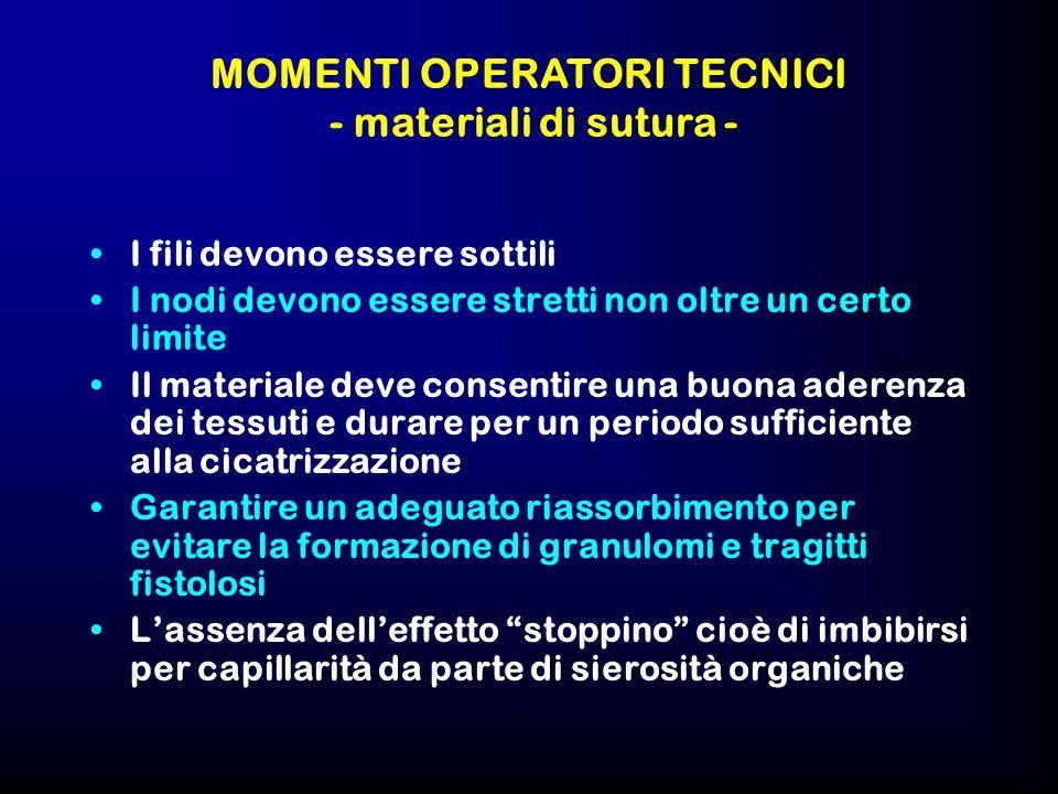 MOMENTI OPERATORI TECNICI - materiali di sutura -