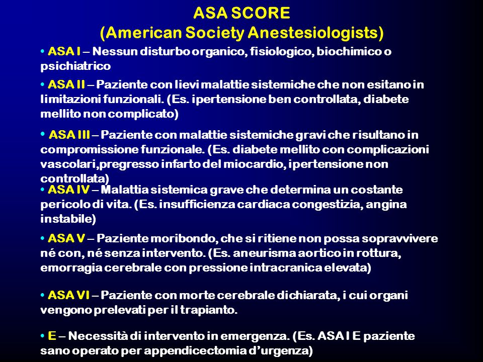 ASA SCORE (American Society Anestesiologists)