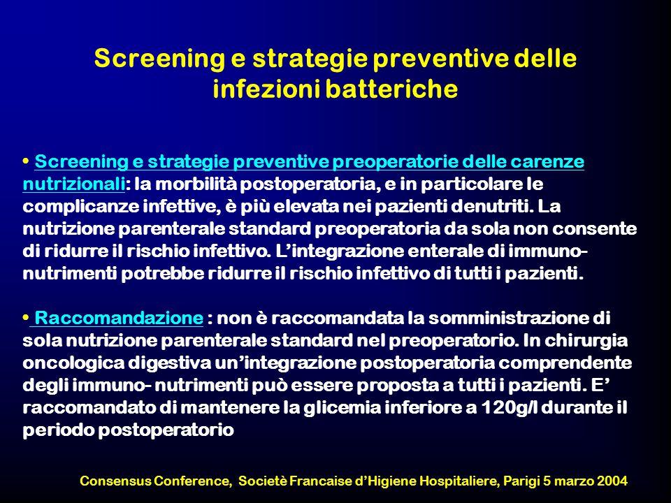 Screening e strategie preventive delle infezioni batteriche