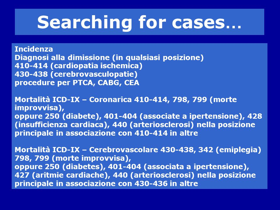 Searching for cases… Incidenza