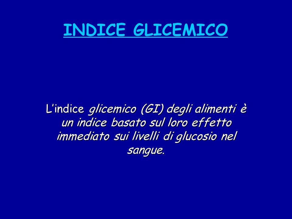 INDICE GLICEMICO L'indice glicemico (GI) degli alimenti è un indice basato sul loro effetto immediato sui livelli di glucosio nel sangue.