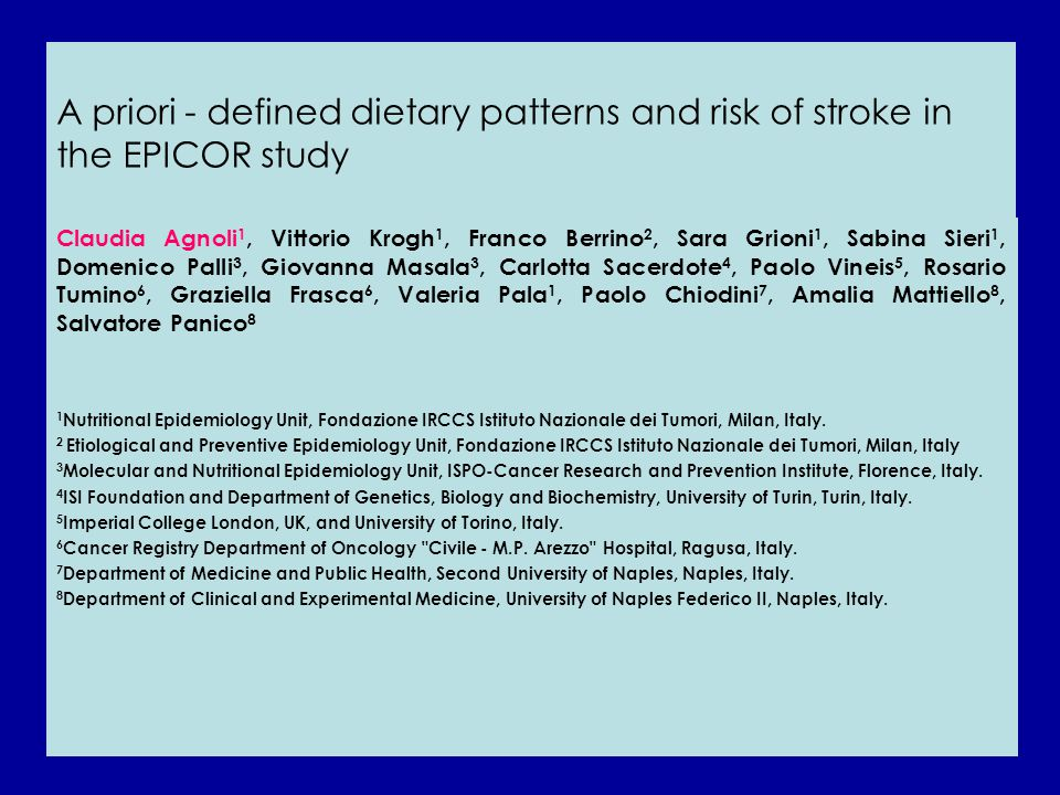 A priori - defined dietary patterns and risk of stroke in the EPICOR study