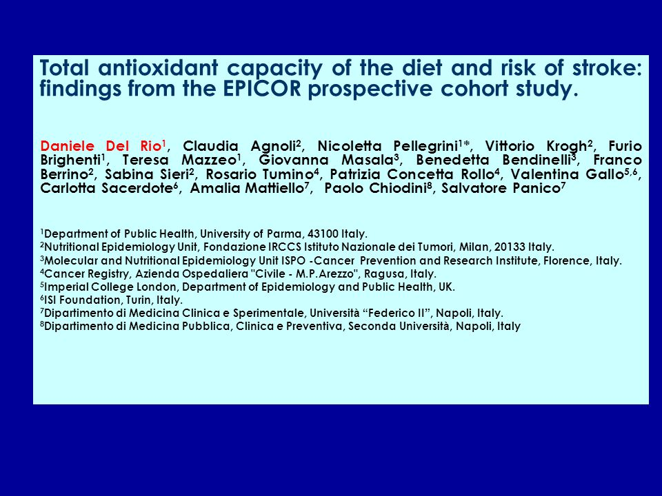 Total antioxidant capacity of the diet and risk of stroke: findings from the EPICOR prospective cohort study.
