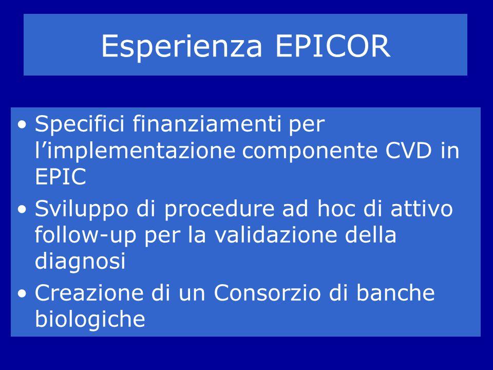 Esperienza EPICOR Specifici finanziamenti per l'implementazione componente CVD in EPIC.