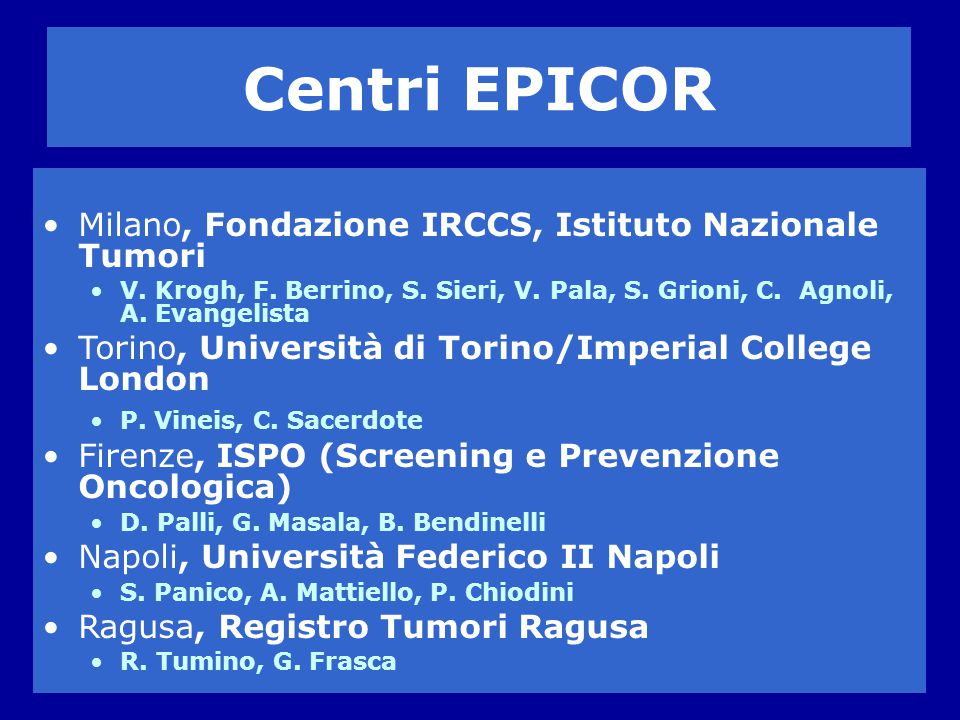 Centri EPICOR Milano, Fondazione IRCCS, Istituto Nazionale Tumori