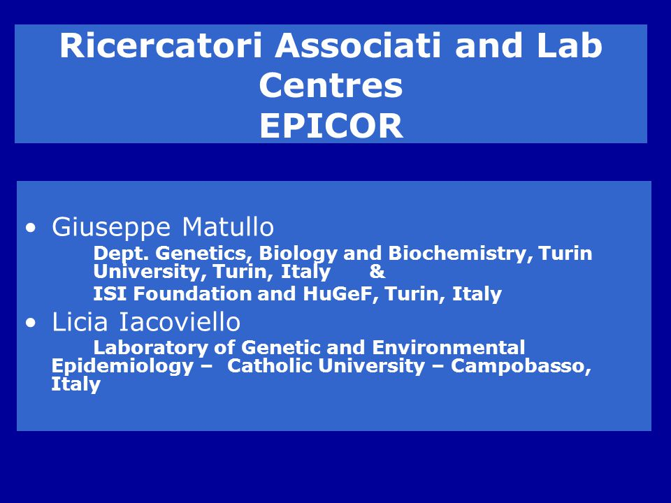 Ricercatori Associati and Lab Centres