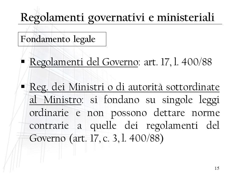 Regolamenti governativi e ministeriali