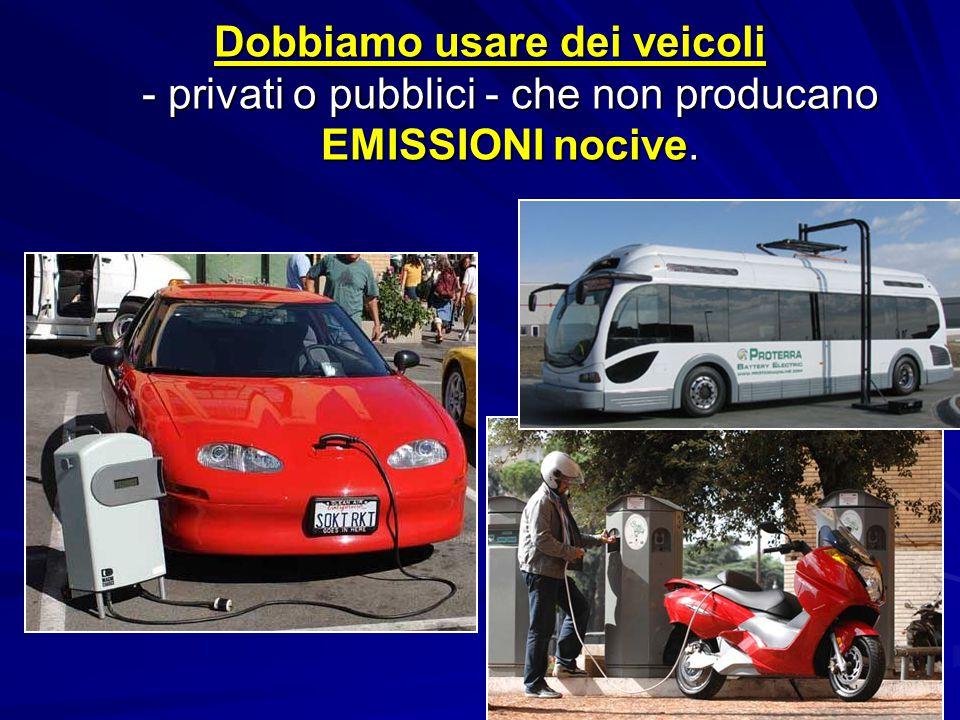 Dobbiamo usare dei veicoli - privati o pubblici - che non producano EMISSIONI nocive.