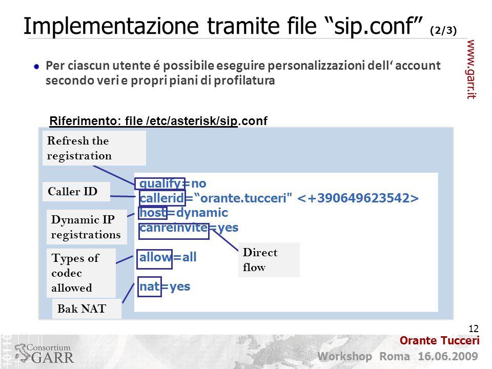 Implementazione tramite file sip.conf (2/3)