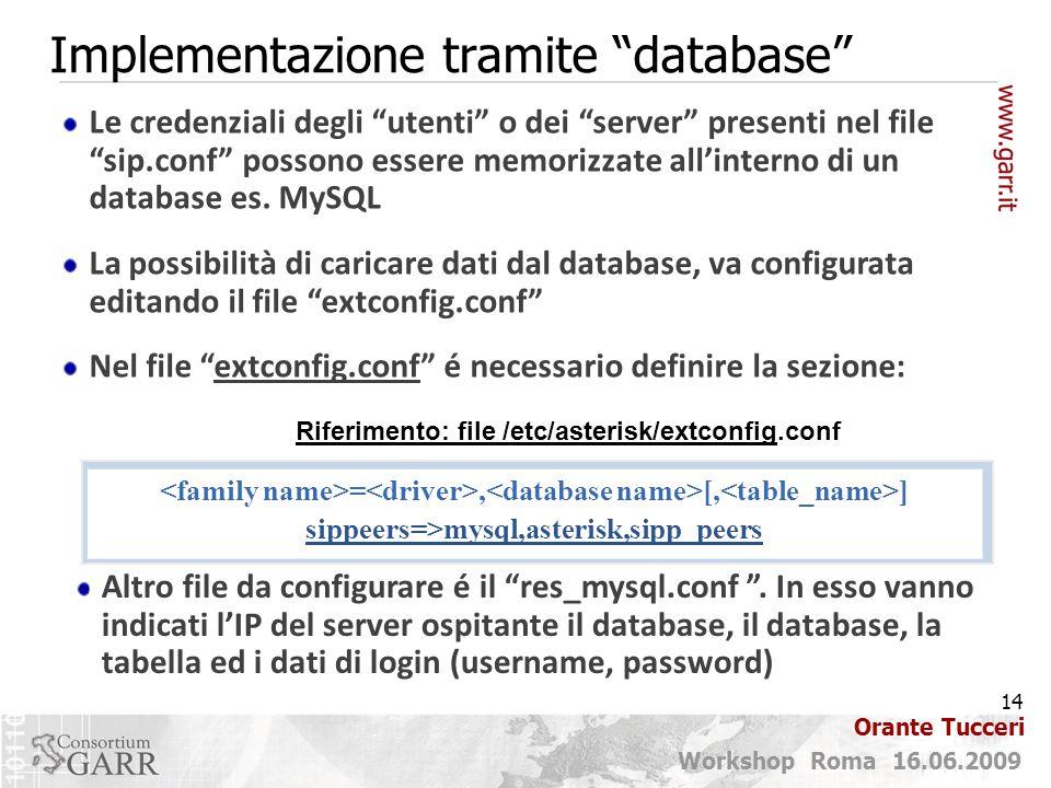 Implementazione tramite database