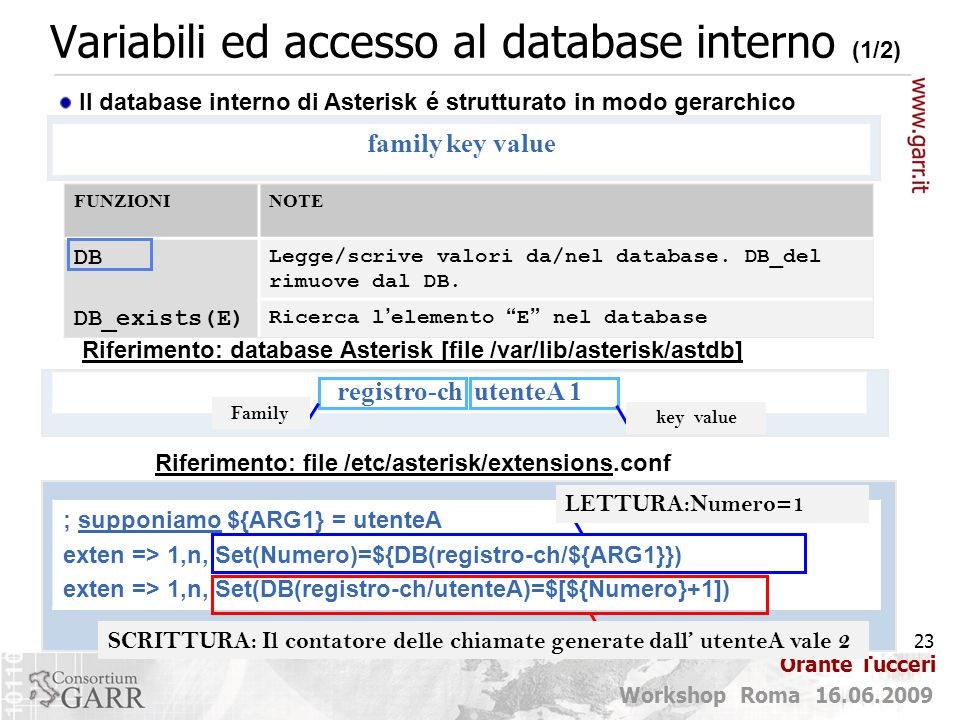 Variabili ed accesso al database interno (1/2)