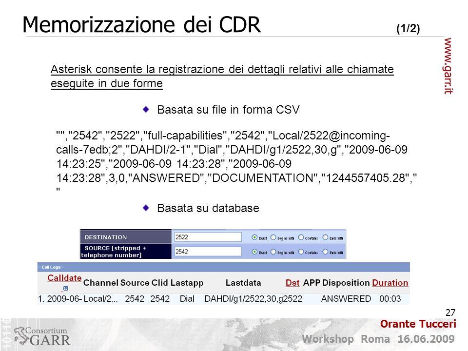 Memorizzazione dei CDR (1/2)