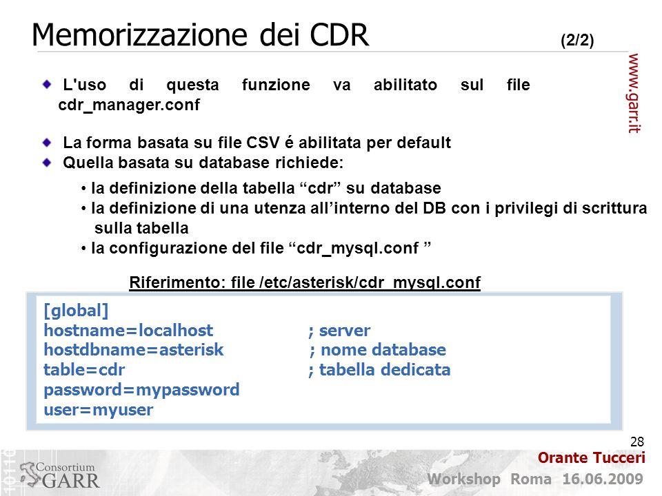 Memorizzazione dei CDR (2/2)
