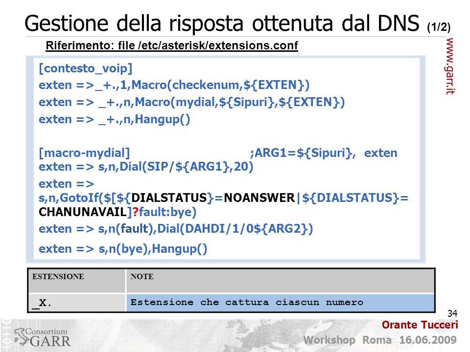 Gestione della risposta ottenuta dal DNS (1/2)