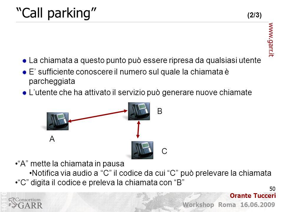 Call parking (2/3) La chiamata a questo punto può essere ripresa da qualsiasi utente.