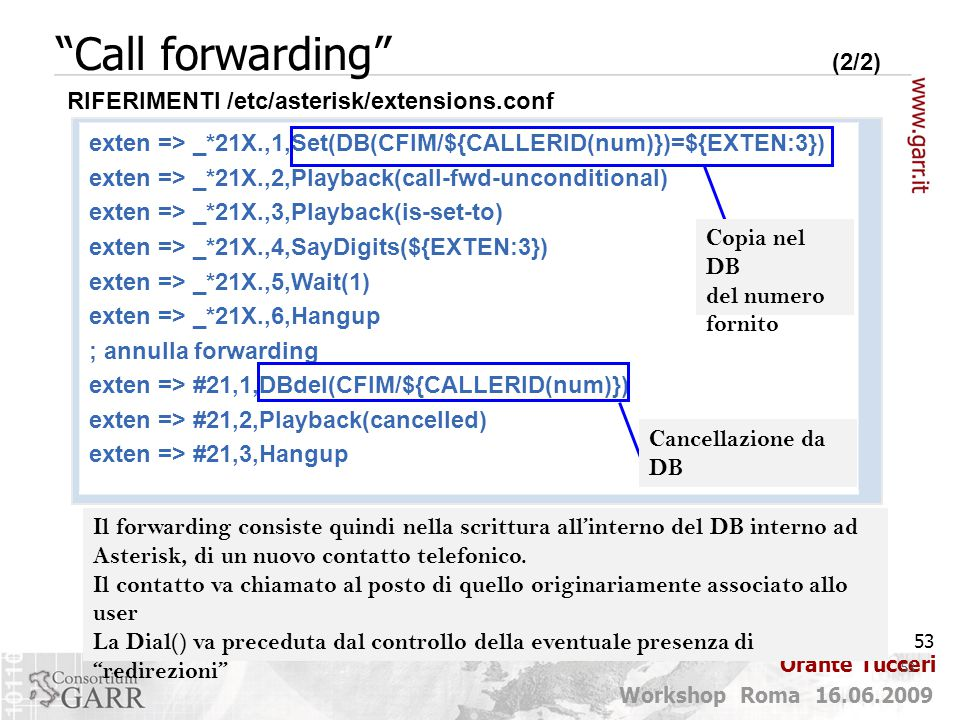Call forwarding (2/2) RIFERIMENTI /etc/asterisk/extensions.conf.