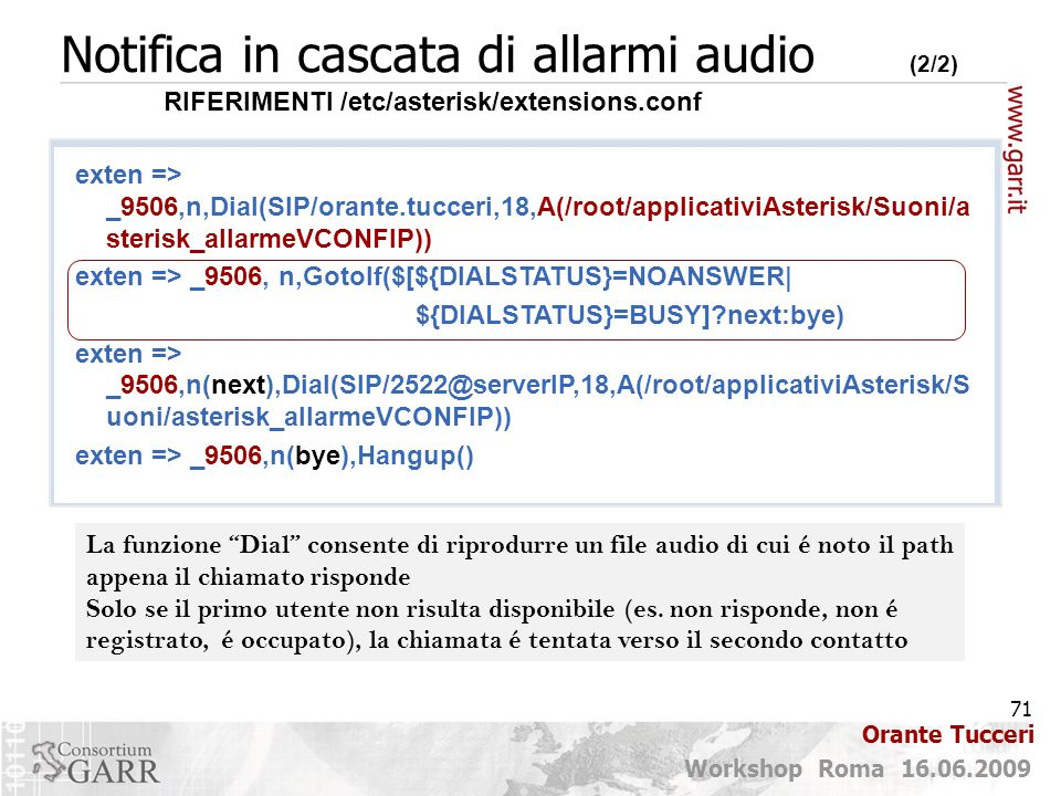 Notifica in cascata di allarmi audio (2/2)