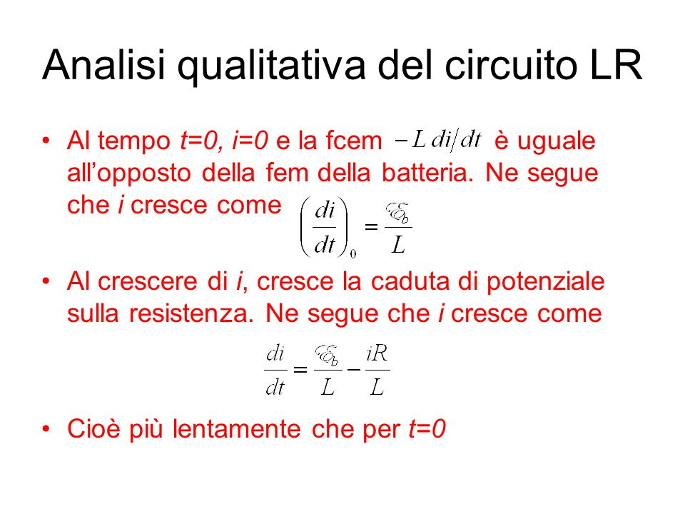 Analisi qualitativa del circuito LR