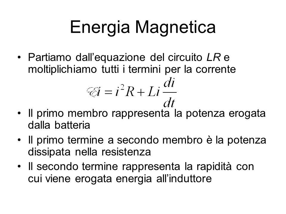 Energia Magnetica Partiamo dall'equazione del circuito LR e moltiplichiamo tutti i termini per la corrente.