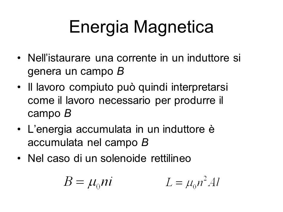 Energia Magnetica Nell'istaurare una corrente in un induttore si genera un campo B.