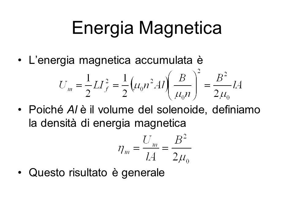 Energia Magnetica L'energia magnetica accumulata è