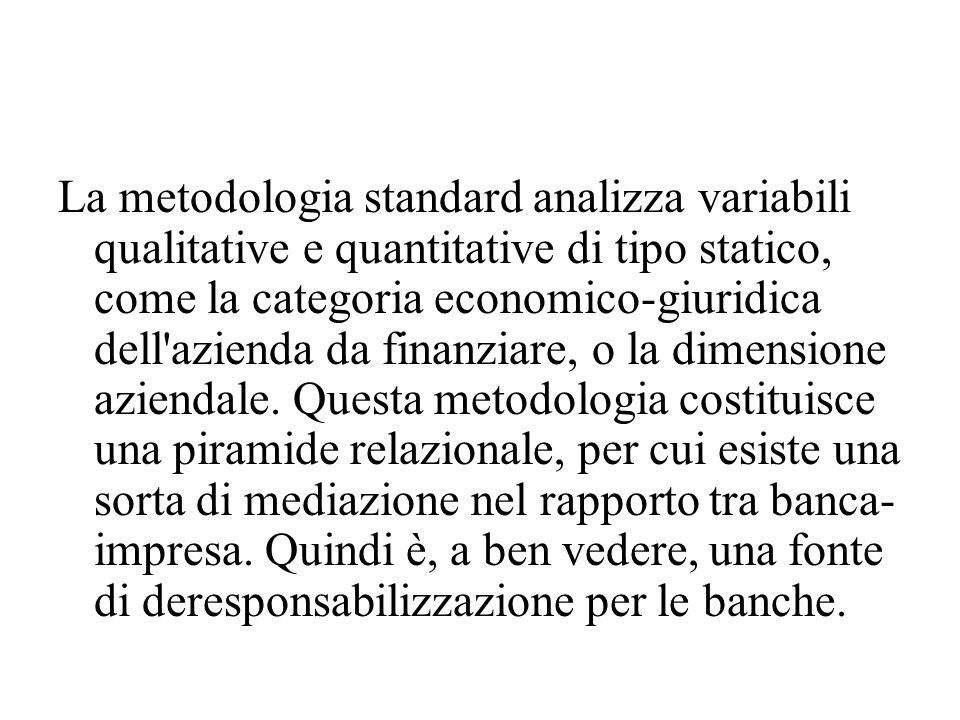 La metodologia standard analizza variabili qualitative e quantitative di tipo statico, come la categoria economico-giuridica dell azienda da finanziare, o la dimensione aziendale.
