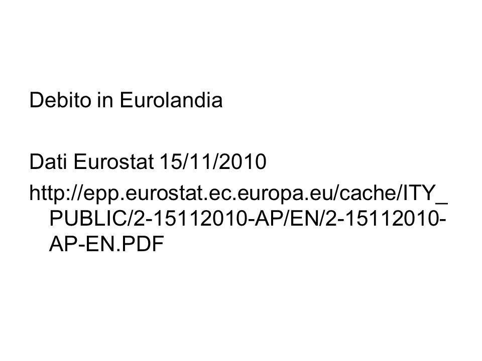 Debito in Eurolandia Dati Eurostat 15/11/2010.