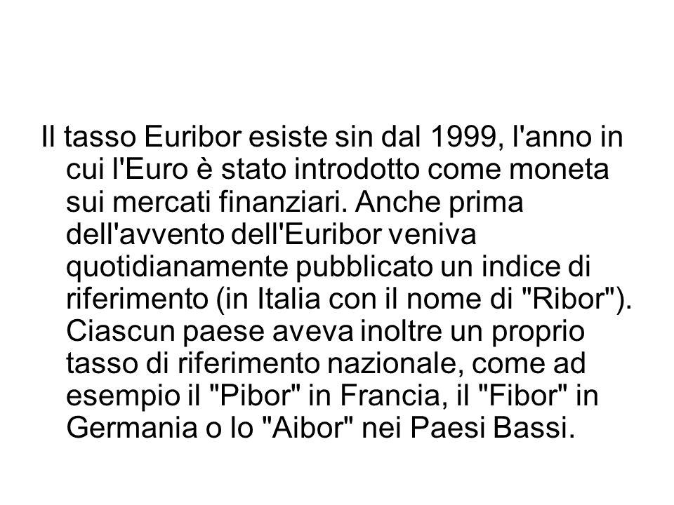 Il tasso Euribor esiste sin dal 1999, l anno in cui l Euro è stato introdotto come moneta sui mercati finanziari.