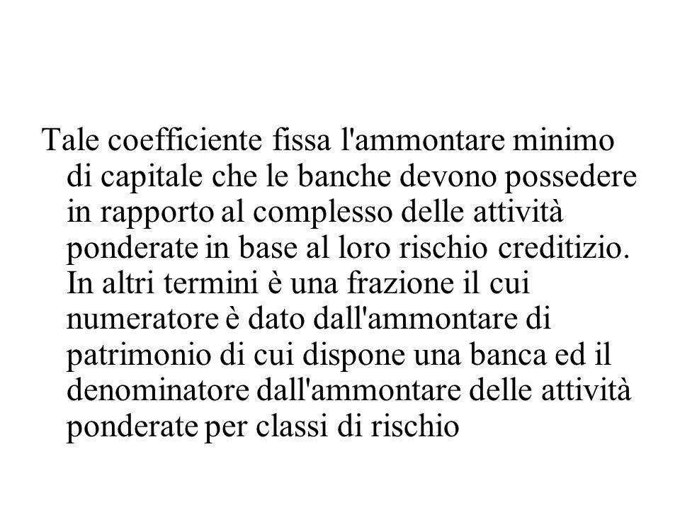 Tale coefficiente fissa l ammontare minimo di capitale che le banche devono possedere in rapporto al complesso delle attività ponderate in base al loro rischio creditizio.