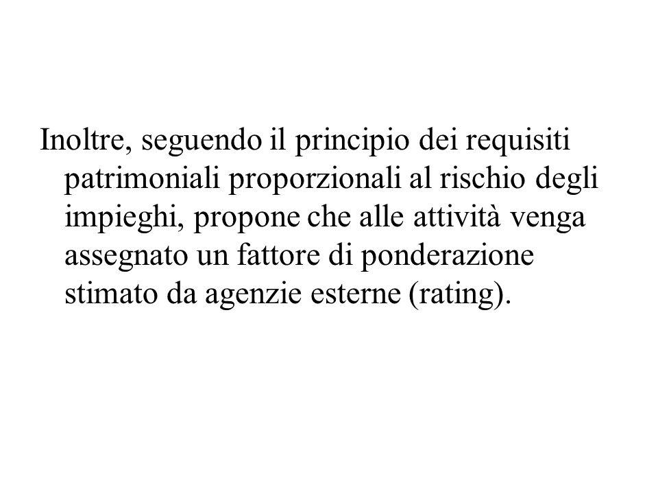 Inoltre, seguendo il principio dei requisiti patrimoniali proporzionali al rischio degli impieghi, propone che alle attività venga assegnato un fattore di ponderazione stimato da agenzie esterne (rating).