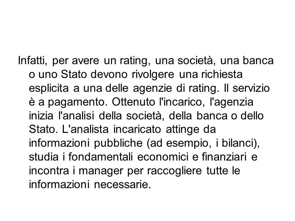 Infatti, per avere un rating, una società, una banca o uno Stato devono rivolgere una richiesta esplicita a una delle agenzie di rating.