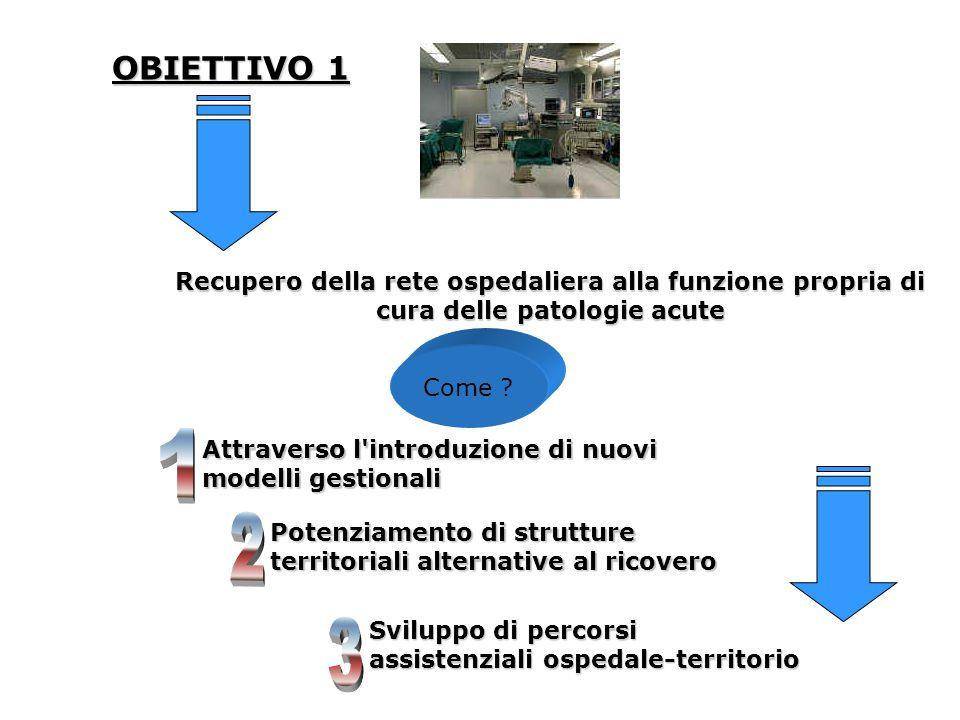 OBIETTIVO 1 Recupero della rete ospedaliera alla funzione propria di cura delle patologie acute. Come