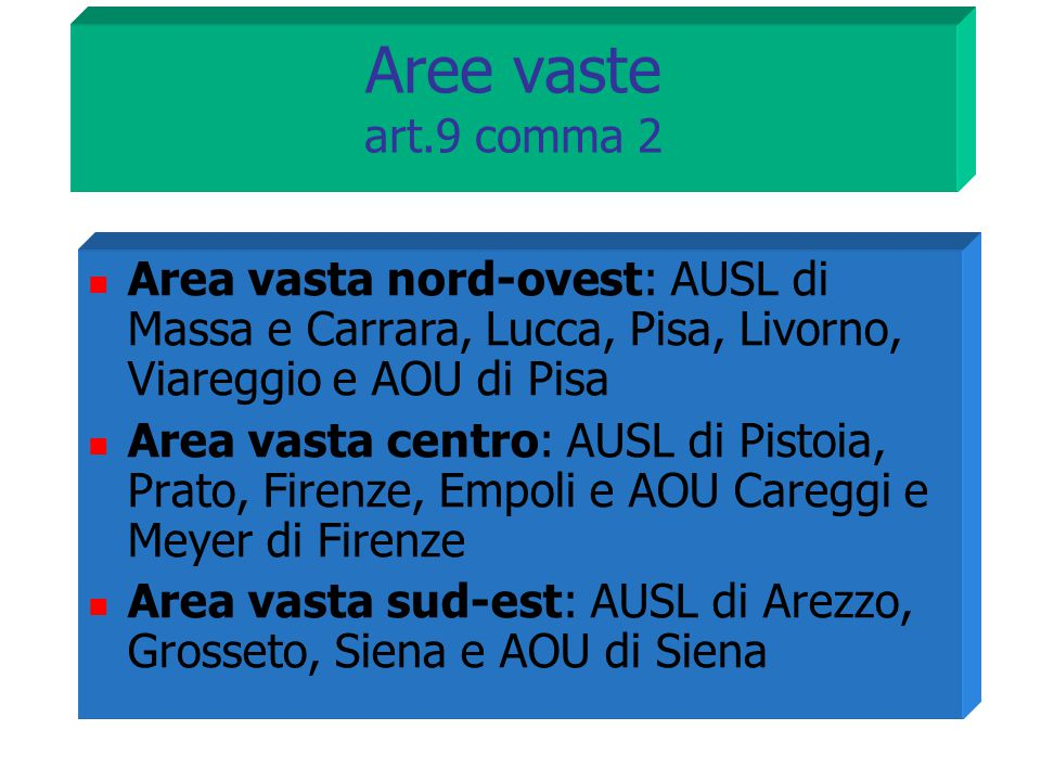 Aree vaste art.9 comma 2 Area vasta nord-ovest: AUSL di Massa e Carrara, Lucca, Pisa, Livorno, Viareggio e AOU di Pisa.