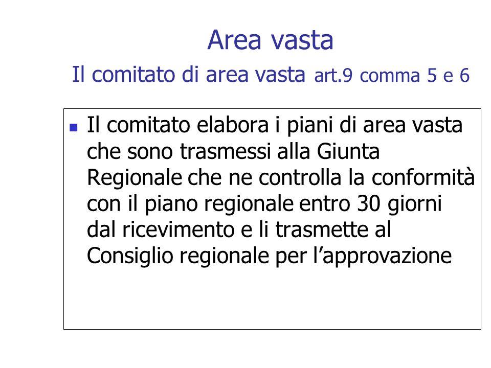 Area vasta Il comitato di area vasta art.9 comma 5 e 6