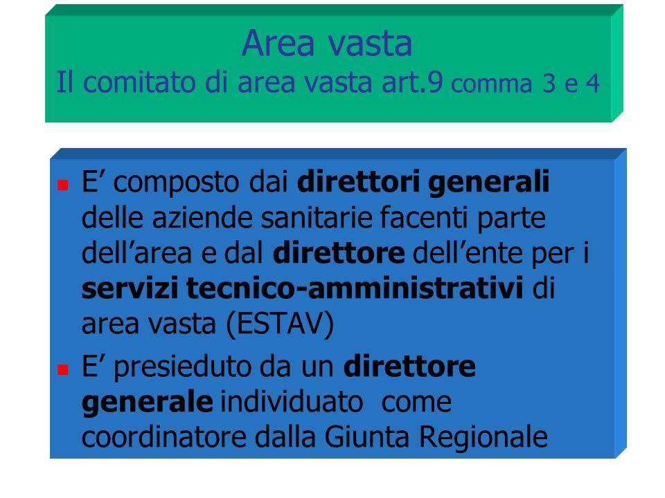 Area vasta Il comitato di area vasta art.9 comma 3 e 4