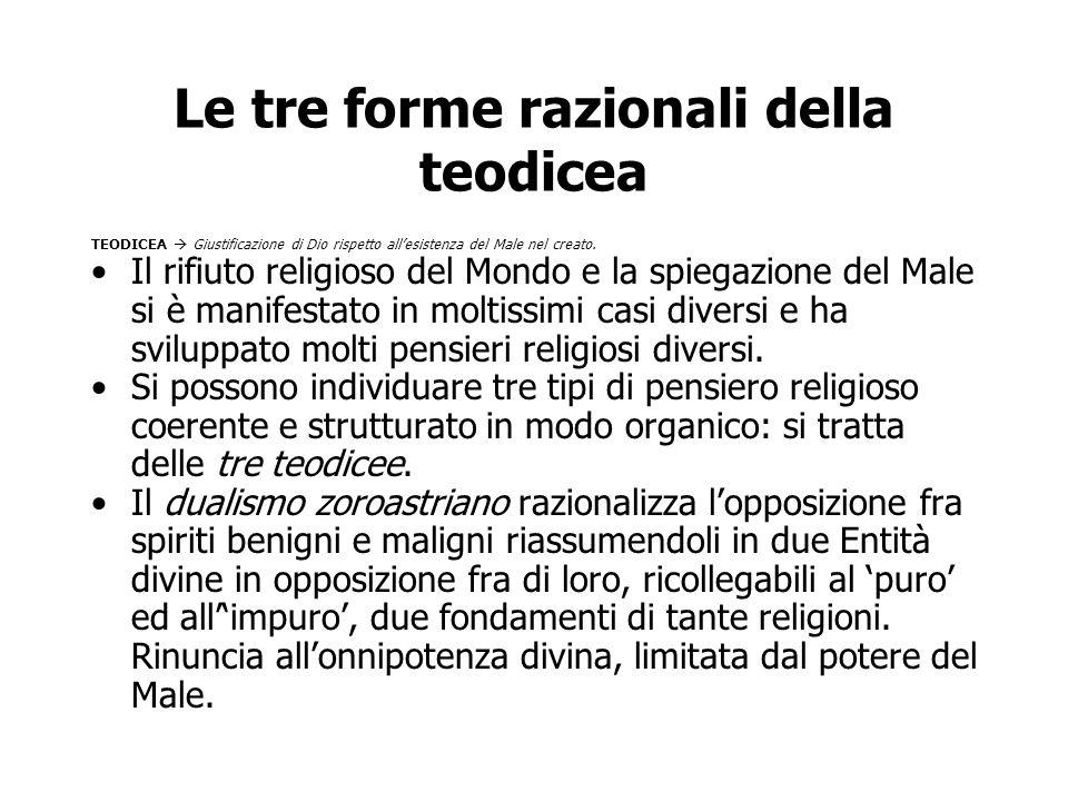 Le tre forme razionali della teodicea