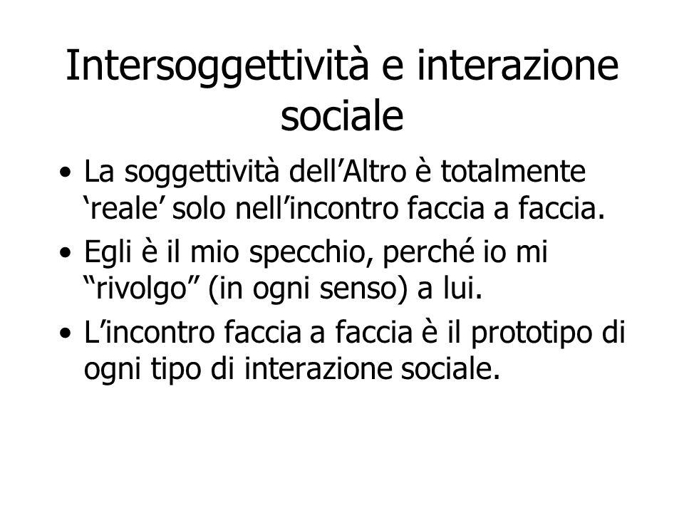 Intersoggettività e interazione sociale