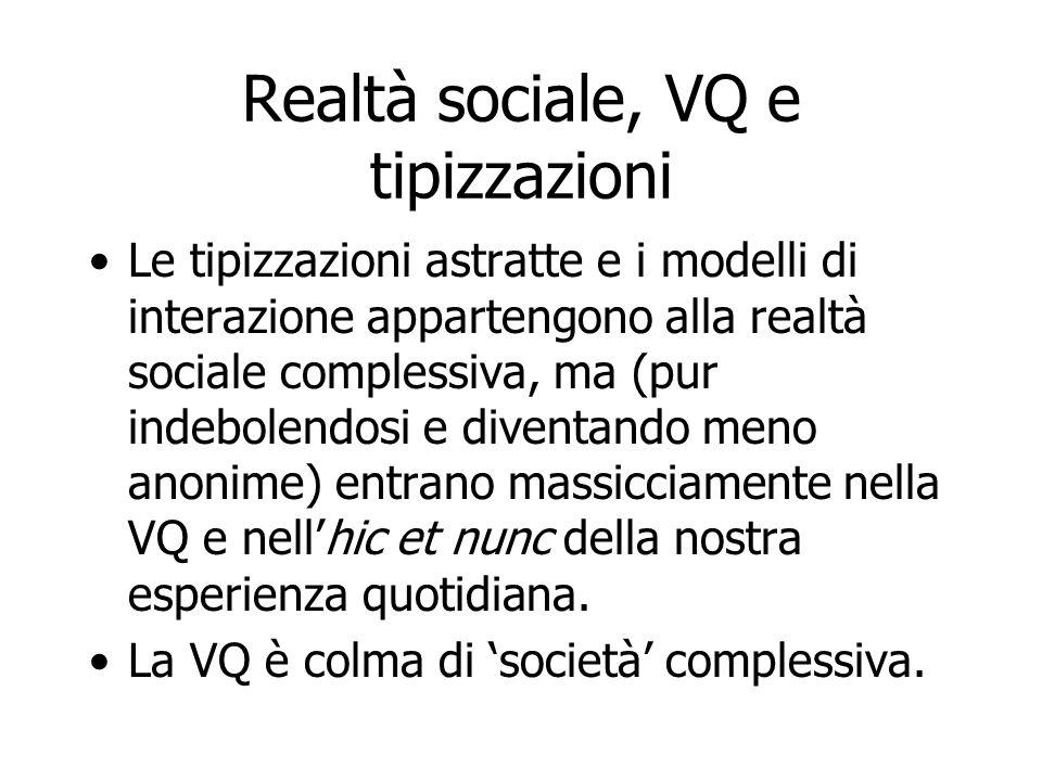 Realtà sociale, VQ e tipizzazioni