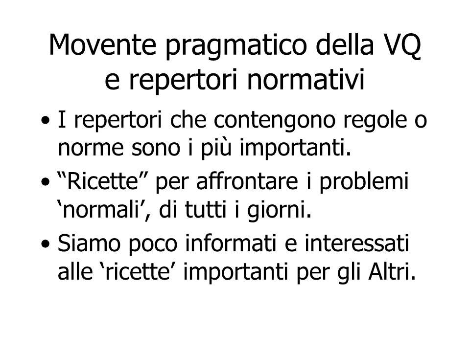 Movente pragmatico della VQ e repertori normativi