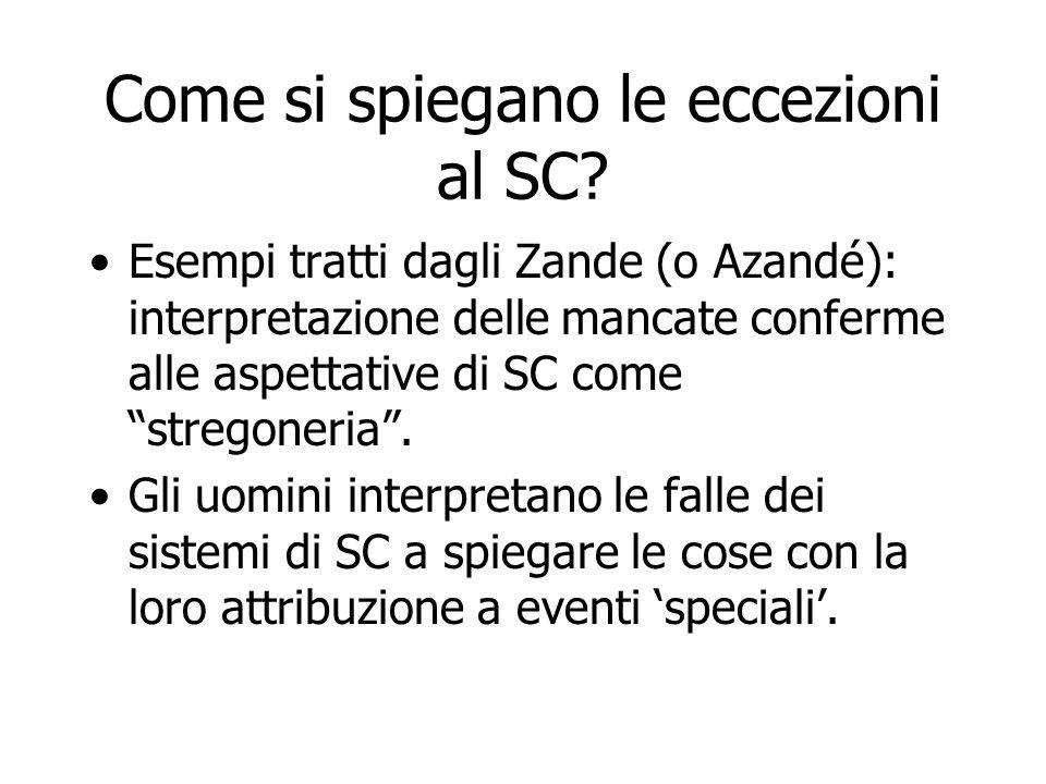Come si spiegano le eccezioni al SC