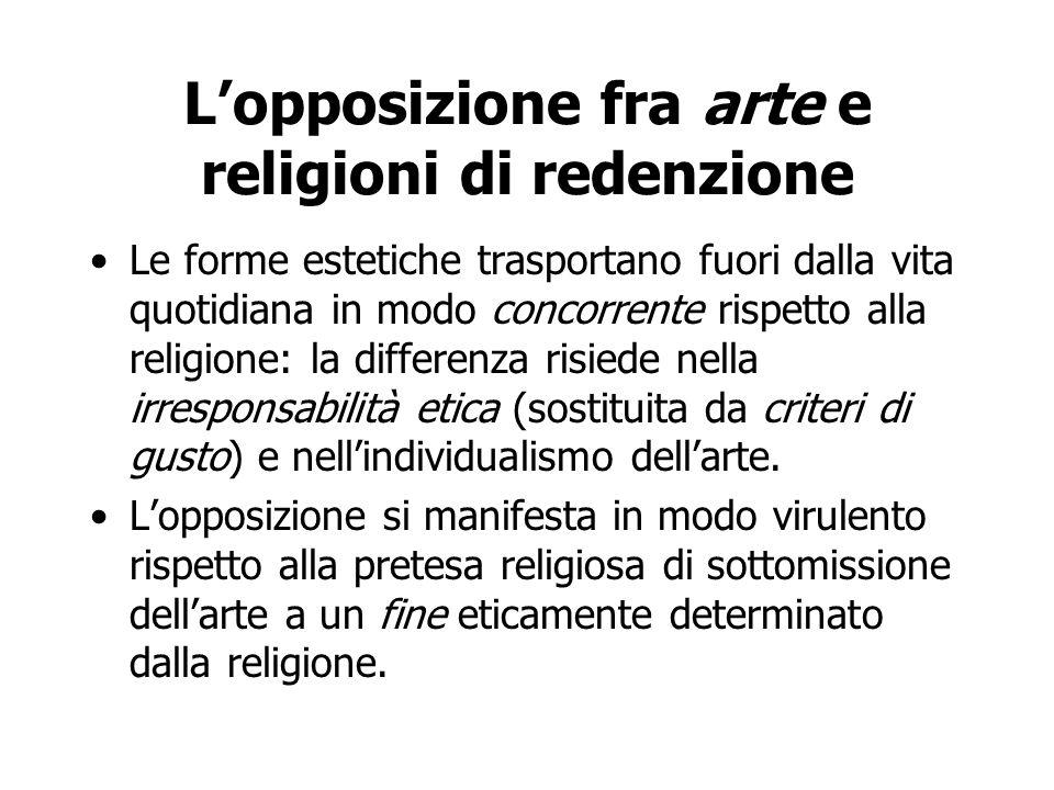 L'opposizione fra arte e religioni di redenzione