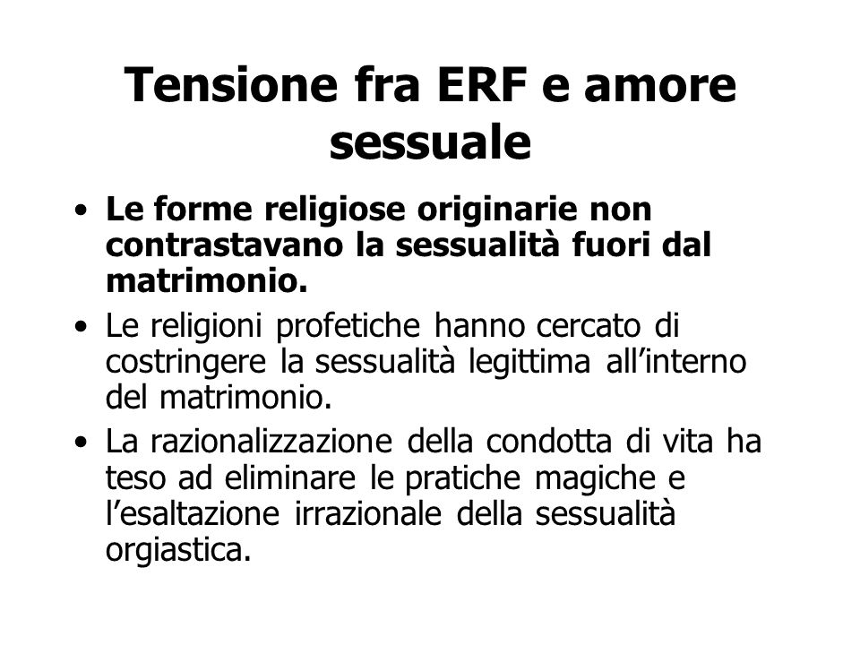 Tensione fra ERF e amore sessuale