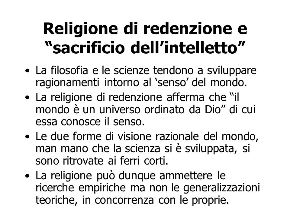 Religione di redenzione e sacrificio dell'intelletto
