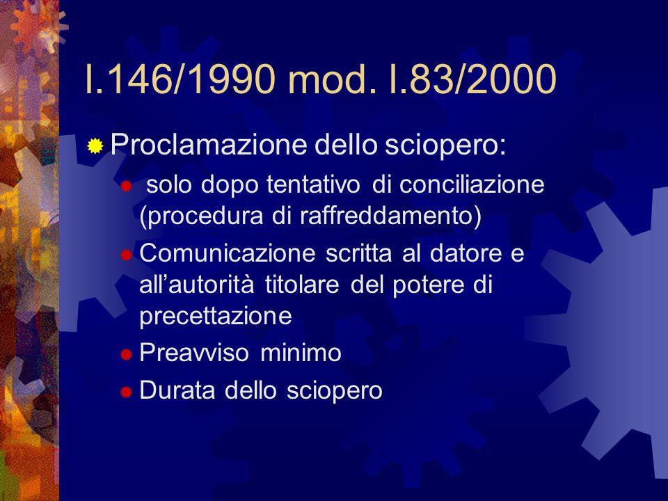 l.146/1990 mod. l.83/2000 Proclamazione dello sciopero: