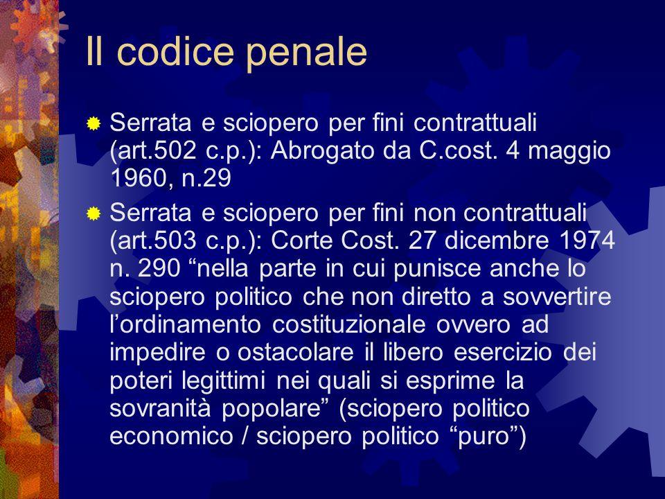 Il codice penale Serrata e sciopero per fini contrattuali (art.502 c.p.): Abrogato da C.cost. 4 maggio 1960, n.29.