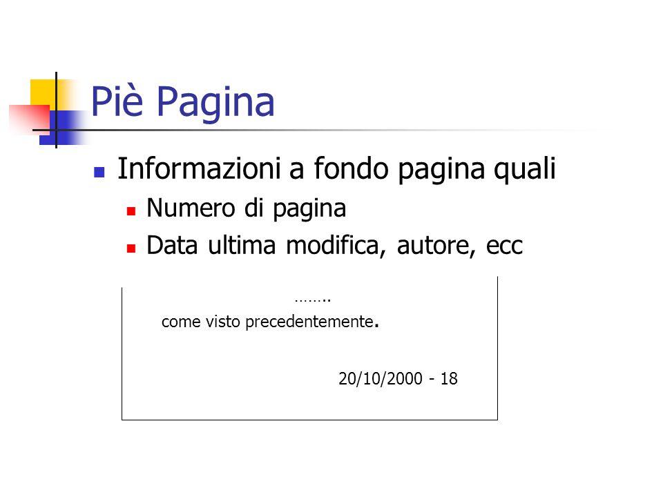 Piè Pagina Informazioni a fondo pagina quali Numero di pagina