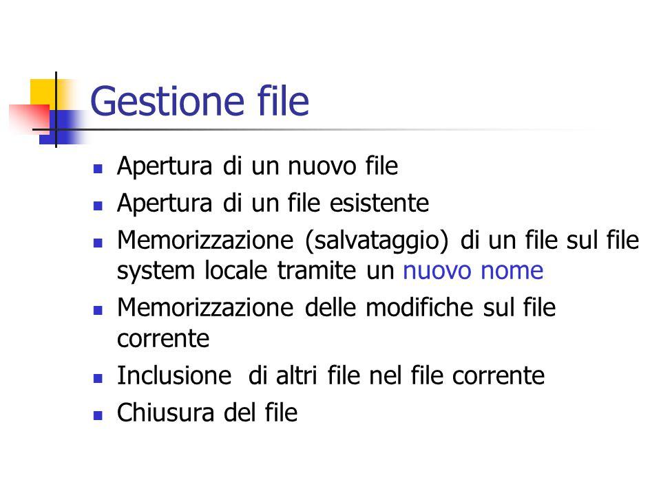 Gestione file Apertura di un nuovo file Apertura di un file esistente